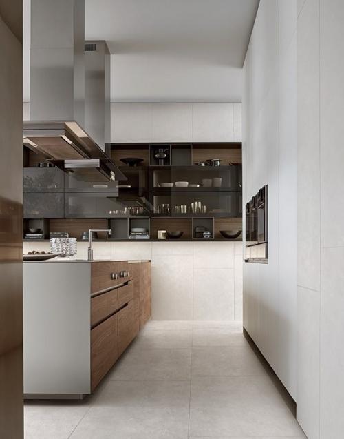 Кухня на заказ с фасадами шпон Q1046)