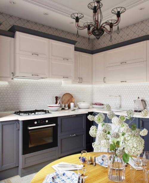 Кухня фиолетовый низ, белый верх Q1040)